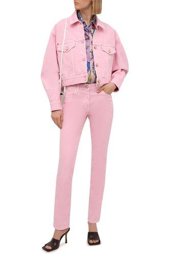 Женские джинсы VERSACE светло-розового цвета, арт. A86623/1F00813   Фото 1