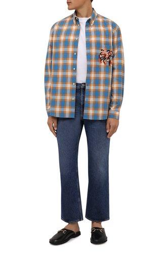 Мужская хлопковая рубашка GUCCI голубого цвета, арт. 654884/ZAG0Q | Фото 1