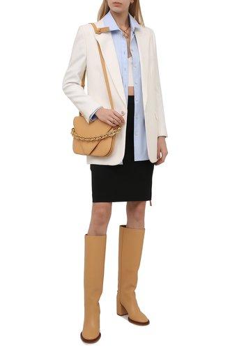 Женские кожаные сапоги edith CHLOÉ светло-бежевого цвета, арт. CHC21W519V3 | Фото 1 (Материал внутренний: Натуральная кожа; Высота голенища: Средние; Подошва: Плоская; Каблук высота: Высокий; Каблук тип: Устойчивый)