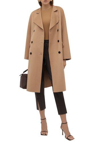 Женское пальто из шерсти и кашемира THEORY бежевого цвета, арт. L0501404   Фото 1 (Материал внешний: Шерсть; Рукава: Длинные; Длина (верхняя одежда): До колена; 1-2-бортные: Двубортные; Стили: Классический)