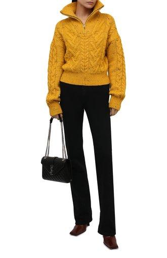 Женский свитер GANNI желтого цвета, арт. K1596 | Фото 1 (Материал внешний: Шерсть; Длина (для топов): Стандартные; Рукава: Длинные; Женское Кросс-КТ: Свитер-одежда; Стили: Кэжуэл)