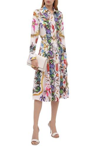 Женское шелковое платье VERSACE белого цвета, арт. A89136/1F01000   Фото 1