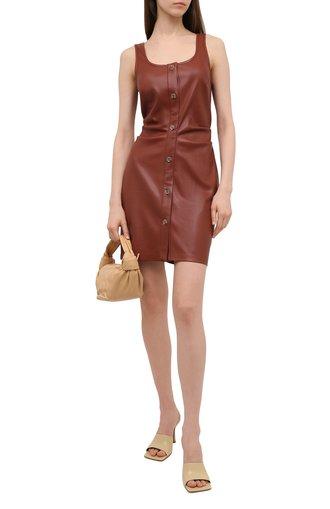 Женское платье из экокожи NANUSHKA коричневого цвета, арт. ERNIE_BRICK_VEGAN LEATHER | Фото 1
