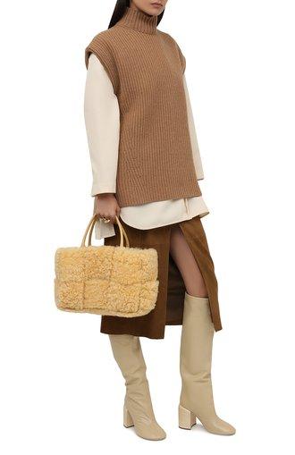 Женские кожаные сапоги JIL SANDER кремвого цвета, арт. JS37233A-14010 | Фото 1 (Подошва: Плоская; Высота голенища: Высокие; Материал внутренний: Натуральная кожа; Каблук высота: Высокий; Каблук тип: Устойчивый)