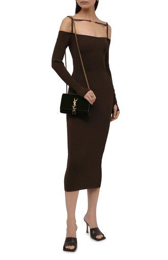 Женское платье из вискозы JACQUEMUS темно-коричневого цвета, арт. 213KN300-2180 | Фото 1 (Рукава: Длинные; Материал внешний: Вискоза; Длина Ж (юбки, платья, шорты): Миди; Женское Кросс-КТ: Платье-одежда, платье-футляр; Кросс-КТ: Трикотаж; Стили: Романтичный; Случай: Повседневный)