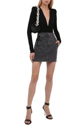 Женская джинсовая юбка KENZO серого цвета, арт. FB62DJ2619FD   Фото 1